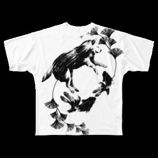 KOJIZOUの金魚と柴犬と Full graphic T-shirts