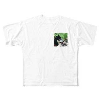 夏の黒柴 Full graphic T-shirts