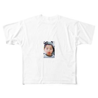 鼻水を垂れ流し憤る幼児T Full graphic T-shirts