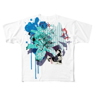 Lily Skull [Blue] Full graphic T-shirts