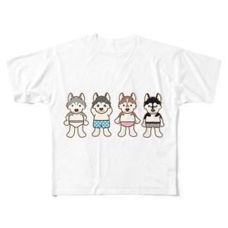 おパンツハスキー2 Full graphic T-shirts