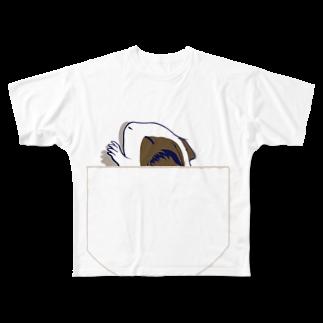 Lichtmuhleのポケットでネンネするモルモット06 Full graphic T-shirts