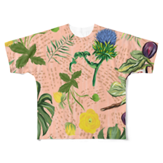 Tania NobukovskiのBOTANICAL PINK Full graphic T-shirts