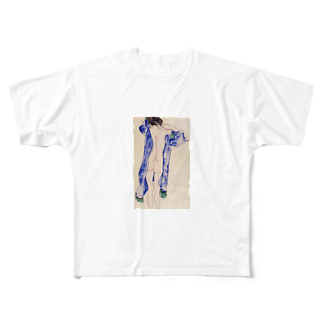 Art Baseのエゴン・シーレ / 1913 / Standing Female Nude in a Blue Robe / Egon Schiele Full graphic T-shirts