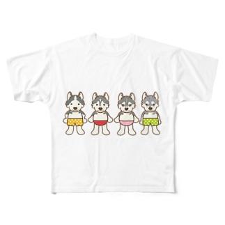 おパンツハスキー4 Full graphic T-shirts