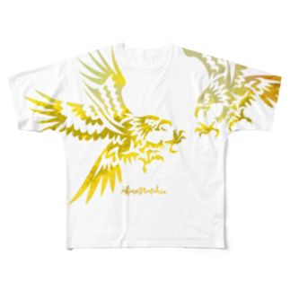 ikinagraphieのFLY HAWKIE FLY_YELLOW Full graphic T-shirts