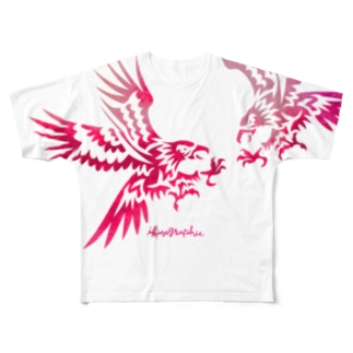 ikinagraphieのFLY HAWKIE FLY_PINK Full graphic T-shirts