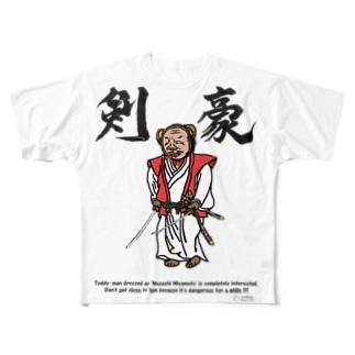 前プリント【剣豪】 Full graphic T-shirts