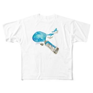 あっクジラが出てきた Full graphic T-shirts