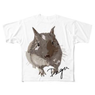 デグーのチョビ Full graphic T-shirts