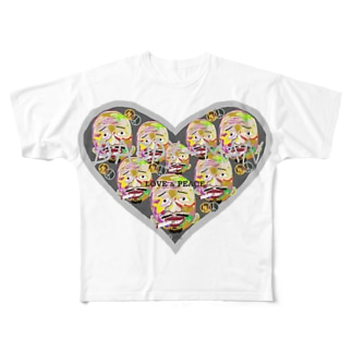 【Many faces】heart P-big Full graphic T-shirts