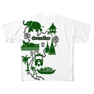 カオニャオ分布図(ミドリ) Full graphic T-shirts