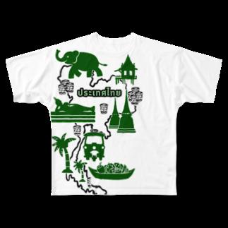 トコ*ガドガドのカオニャオ分布図(ミドリ) Full graphic T-shirts