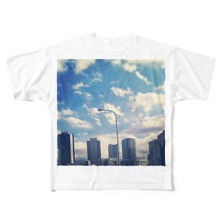お陰で今日も空は青い Full graphic T-shirts