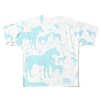 馬、オうっまさんポップサイン Full graphic T-shirts