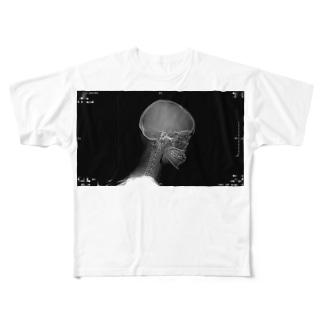 撲我さくらの頭蓋骨 Full graphic T-shirts