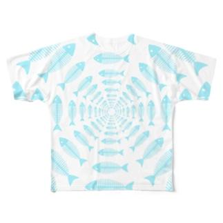 図形絵魚ボーンフィッシュ Full graphic T-shirts