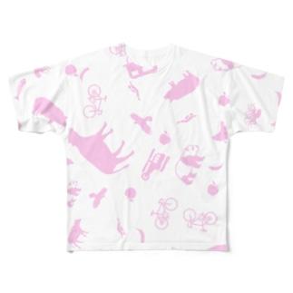 ポップサイン動物台風 Full graphic T-shirts