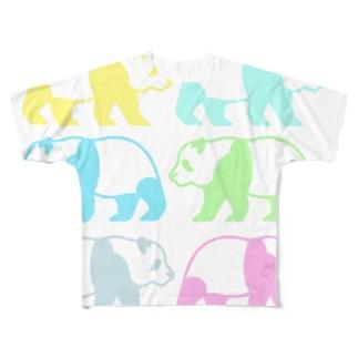 レインボーパンダさん虹色ポップサイン Full graphic T-shirts