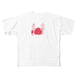 桃に寄り添うじいとばあ Full graphic T-shirts