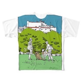 散歩道、出会い(透過) Full graphic T-shirts