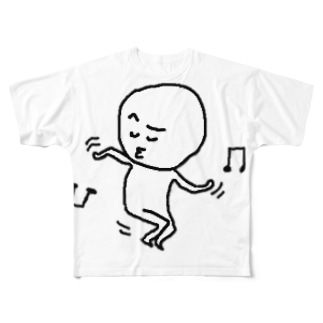 白くゆるい人 ダンシング Full graphic T-shirts