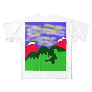 JUJNSEN SETA(瀬田 純仙)令和の夏山1 Full graphic T-shirts