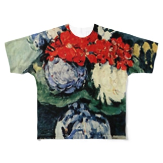 ポール・セザンヌ / 1874 /Still life, Delft vase with flowers / Paul Cezanne Full graphic T-shirts