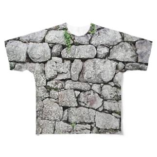 石垣 打込接 Stone wall in Uchikomi-hagi style  Full graphic T-shirts