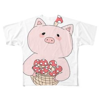 きのこ狩り豚ちゃん Full graphic T-shirts