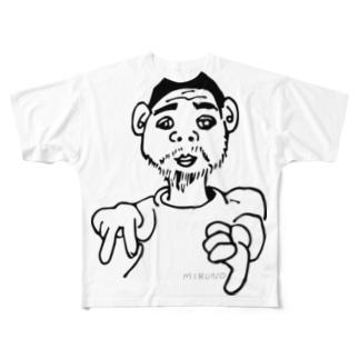 「ねこおじさん、イエイ」 Full graphic T-shirts