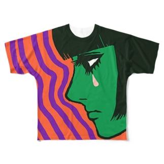 ないてるおんな Full graphic T-shirts