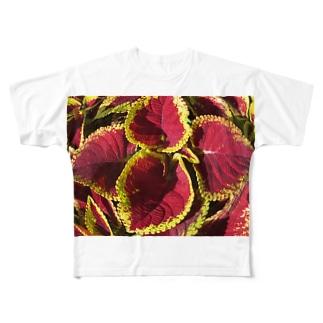 色・綺麗な・リーヴス Full graphic T-shirts