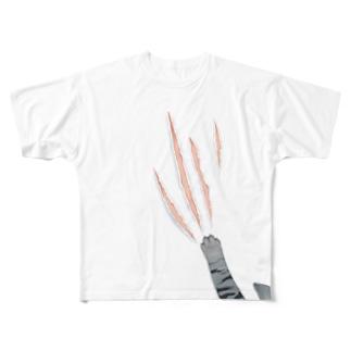 ひっかきネコチャン Full graphic T-shirts