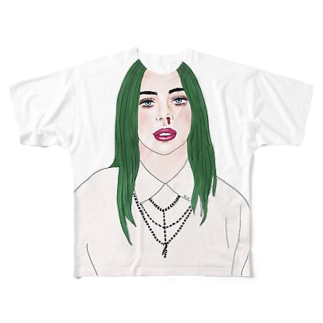 Green Hair Girl Full graphic T-shirts