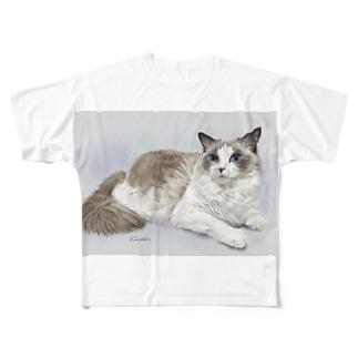 kinako-japanのラグドールのアル君 Full graphic T-shirts