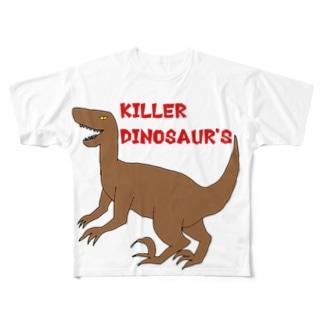 大きいラプトル君Tシャツ(ロゴ入り) Full graphic T-shirts