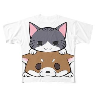 しばねこ(胡麻柴) Full graphic T-shirts