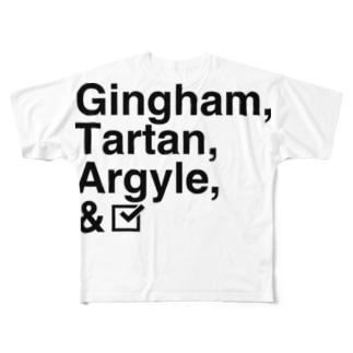チェック柄「四天王」 Full graphic T-shirts