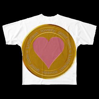 ジェムたん٩(๑òωó๑)۶のLove coin Full graphic T-shirts