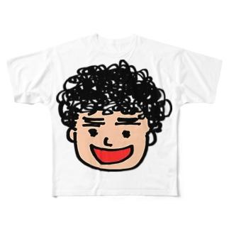 月タン似顔絵 Full graphic T-shirts