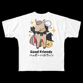はずれ馬券屋の馬イラスト397 馬たちとハロウィン 黒 Full graphic T-shirts
