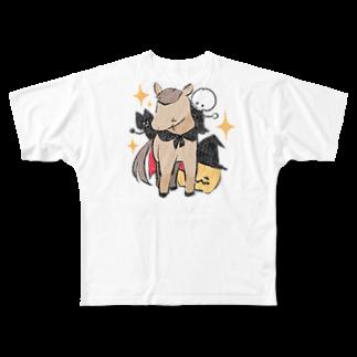 はずれ馬券屋の馬イラスト397 馬たちとハロウィン 白 Full graphic T-shirts