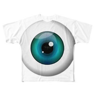 PB-EYEBALL ブルー Full graphic T-shirts