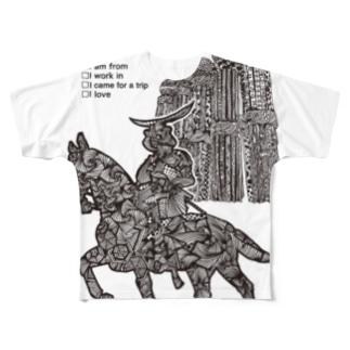 仙台に住んでたり出身だったり働いてたり旅したことあったり大好きだったりする人用(文字黒) Full graphic T-shirts