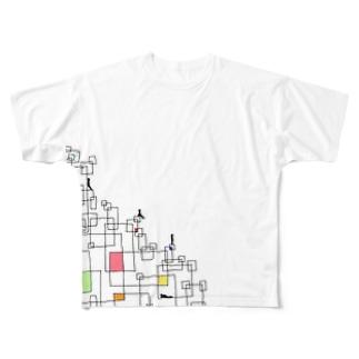 四角でくつろぐ人達 Full graphic T-shirts