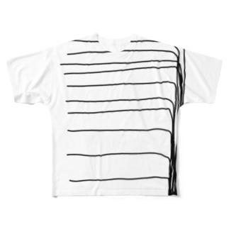 (毛)ボーボーのボーダー Full graphic T-shirts