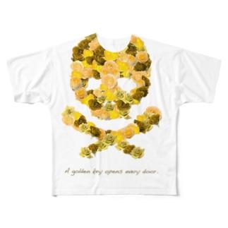 フラワードクロ(イエロー) Full graphic T-shirts