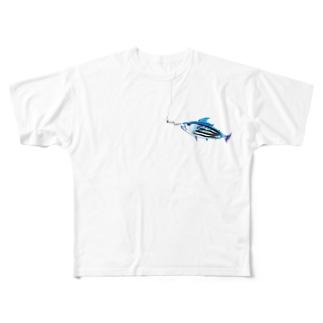 両面#ツナプロ ロゴT Full graphic T-shirts