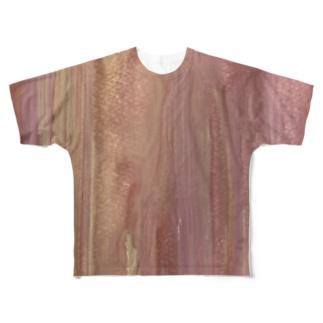 ピンクキラグラデハピネス Full graphic T-shirts